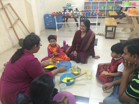 Kids learning the secrets behind Kitchen Science!  Science is always made fun at KidiHou - by KiDiHou Children's Museum, Hyderabad
