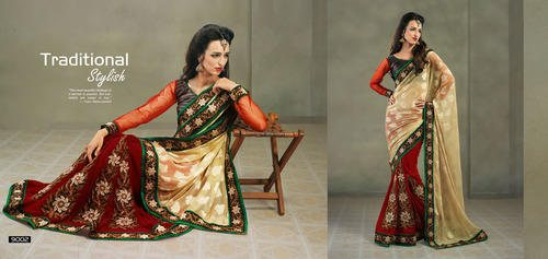 Printed Designer Sarees with hand Embroidered bottom ......Is Amazing - by Yuvrani Fashions, Surat