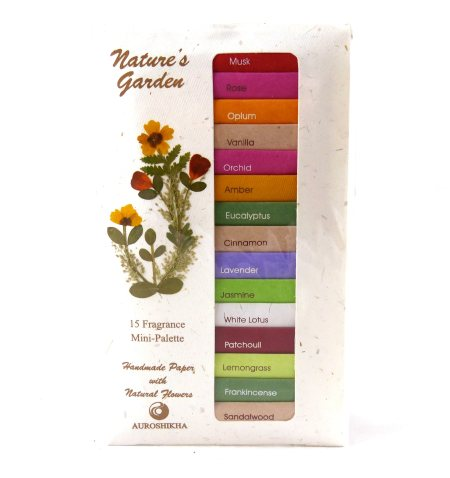 Auroshikha Nature's Garden 15 Fragrance Mini-Palette  Auroshikha presents a selection of Nature's timeless fragrances. This sample pack of hand rolled incense provides an introduction to a wide range of delightfully natural aromas. The fres - by Flower Of Life, Hyderabad