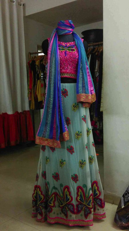 Love butterflies ? Just wear them ;)          a georgette lehenga with a pink blouse and a colourful duppatta .