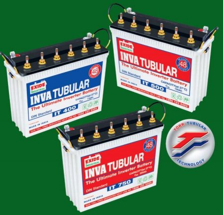 Exide Inva Tubular Battery - IT 400 (115AH)  Features, Ironclad® Tubular Technology Resistance to abuse, Electrolyte level indicator Tower type design, High Acid volume per ampere hour Common Side Venting, Deep cycle design Conforms to IS 13369-1992, Advantages, Very long life Can withstand overcharge better, User friendly Occupies less floor space, totally new loo, Acid volume per ampere hour is 30% more than that of ordinary tubular batteries. It acts as a coolant and also ensures very low maintenance Less pollution, environment friendly, Suited for use in areas of frequent power cuts (800 to 1000 cycles of deep discharge as against 300/400 cycles of other batteries) Ensures consistent quality, Application, The next generation Tubular battery designed specially for withstand long and frequent powercuts. It is the ultimate Inverter battery, Load, 4 Fan, 4 Tube, 1 TV on 800VA Inverter, Backup - approx 3.5 hrs   Free Home Delivery Given any where in Hyderabad.