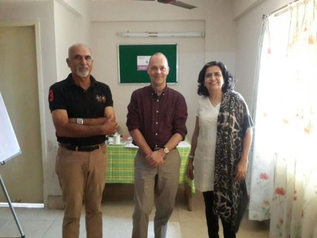 Sangitaa and Vinay Sehgal of The Launch Pad with Mr. Nicholas Peet of Trinity College London at The Launch Pad Training Facility - by The Launch Pad, Visakhapatnam