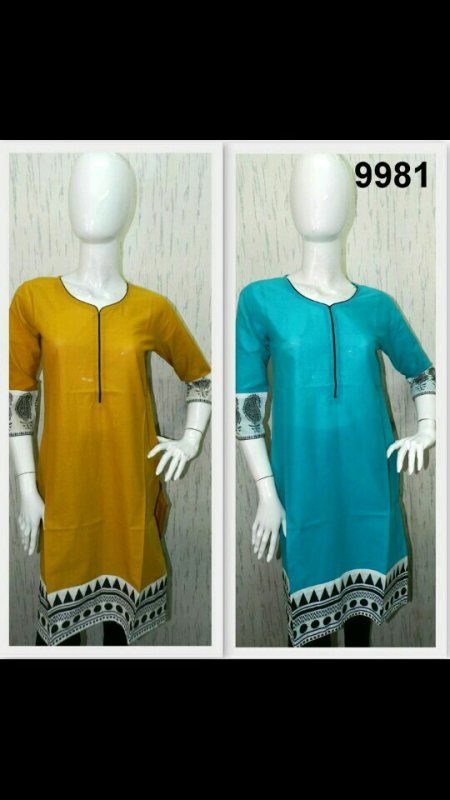 Classy cotton kurtis with screen print - by Manthancreations, chennau