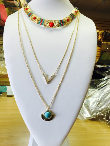 Gold Coral/Turquoise 3 Layers necklace $18.00