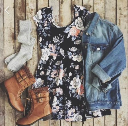 Floral sundress with button up blue jean jacket, mid rise socks and some snazzy boots to create a simple everyday look.