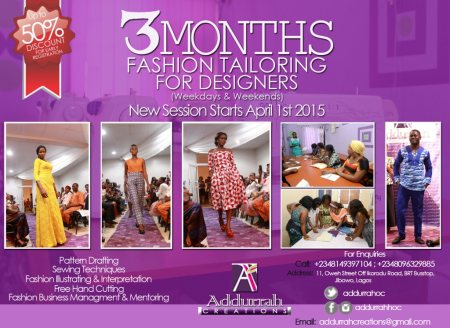 Our 3 Months Fashion Tailoring For Designers... - by Addurrah Creations, Shomolu