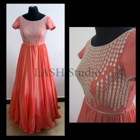 LASH Client Diaries. An elegant gown created recently for a customer, with shades of peach and detailed with gota work. Customize your outfit with LASH Today! #Gown #Weddings #Gota #HandEmbroidery #Peach #Designer #Fashion #LASHStudio #Banj - by LASH STUDIO, Hyderabad