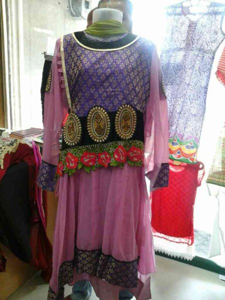 Gorget full suit designer collation royal pink colour front nd backbroket  peach work with resham work - by Utkarshini fashion boutique, Hyderabad