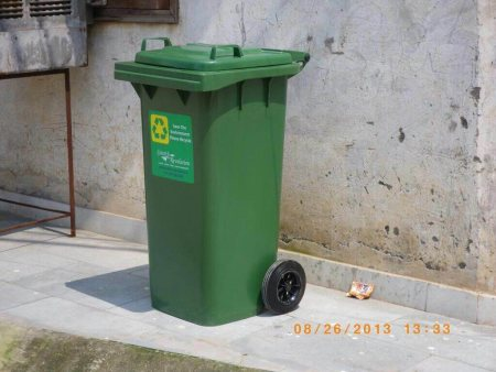 Wheeled garbage bins 120 Liter suppliers in delhi, we supply all kind of waste bins with wheels at affordable cost please visit us at www.green-revolution.in  - by K C GREEN REVOLUTION PVT LTD, Delhi