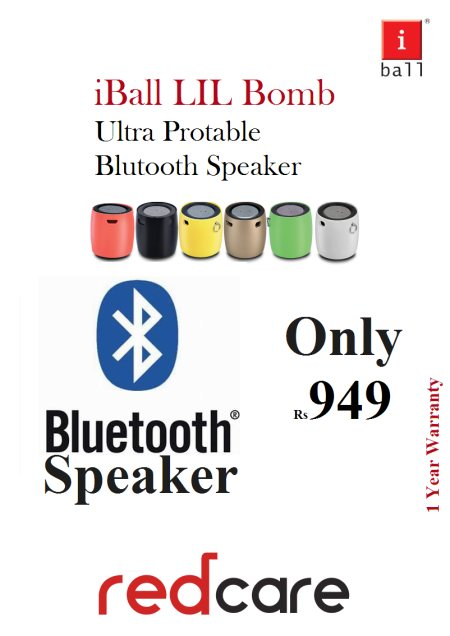 I ball lil Bom Bluetooth Speaker With Mic..!! - by Red Care, Ahmedabad