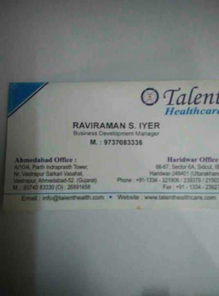 Raviraman Iyer  - by Talent Health Care, Ahmedabad