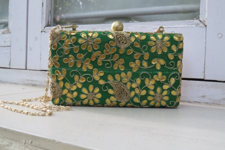 MADE TO ORDER BOX CLUTCH. GREEN GOTTAPATI BOX CLUTCH.