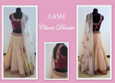 This is what dreams are made of <3 A lovely pink and gold lehenga with intricate zardosi work on the velvet blouse and dupatta is just what you need for your bridal trousseau. Visit LASH Studio to customize your own exquisite outfit for tha - by LASH STUDIO, Hyderabad