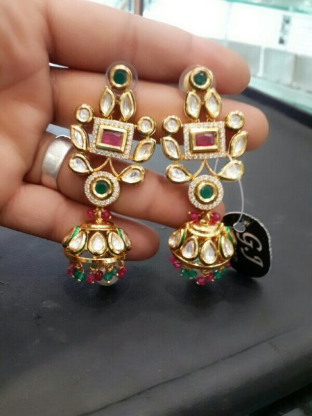 Royal Kundan jhumka - by Ganpati Fashion jewellery , amritsar