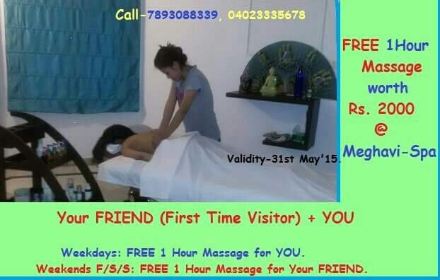 For a More Relaxing Weekend Call Meghavi @04023335678, 04023337890 fora FREE Massage. - by MEGHAVI - Spa, Salon & O Cafe, Hyderabad