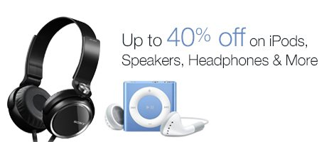Get Great Deals on wide range of iPods, Speakers and Headphones on Amazon  http://www.click2cash.in/40-off-on-audio-video-cashback/deal?d=3706  Click2Cash.in - Best Cashback Site in India