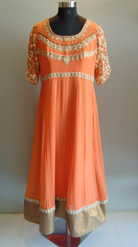 Peachish Long Gown embellished with Pearl & Zardosi work in the front & back neck. - by Gurpreet Kaur, Ahmedabad