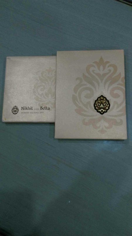 Motif design cards ivory colour for your weddings  - by Utsav Cards, Hyderabad