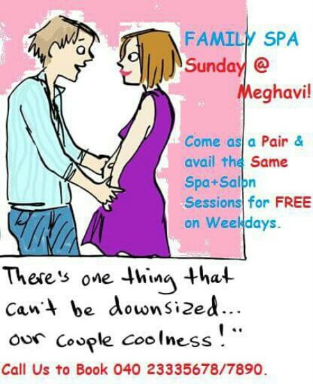 Make your WEEKEND a FAMILY SPA Weekend @Meghavi & Avail The Same Sessions for FREE On Weekdays in the Same Month. Call 7893088339 or 04023335678. - by MEGHAVI - Spa, Salon & O Cafe, Hyderabad