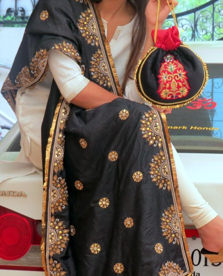 Black Silk Dupatta with e