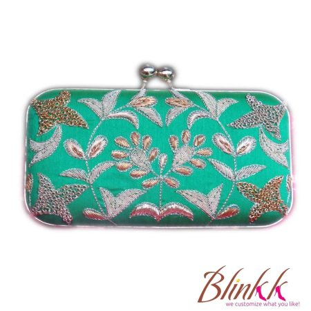 GREEN ZARDOSI DESIGNER BOX CLUTCH