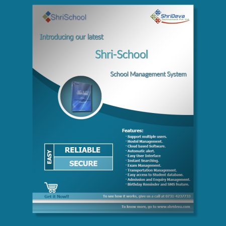Shri-School is a School Management System, which comprises each and every activity and component of a school.     Shri-School is a Perfect Solution for every module of School including Admin, H.R., Configuration, Student Section, Fee, Finan - by Shri Deva Technomech Pvt. Ltd., Indore