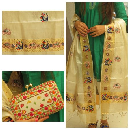 DESIGNER SILK DUPATTA WITH ELEPHANT AND PEACOCK MOTIFS MATCHED WITH BEAUTIFUL FOOTWEAR AND GORGEOUS BOX CLUTCH