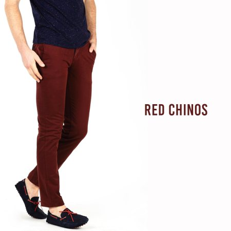 Add a pop of colour to your trousers with these red chinos. Available at your nearest Basics store.  - by BASICS LIFE, Tirunelveli