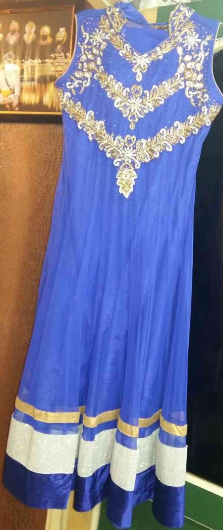 Royal Blue Anarkali from Sakhi Boutique features emroidered corset with stand collor over paneled Anarkali. - by SAKHI BOUTIQUE, AMRITSAR