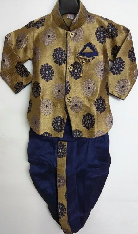 Medium lenght designer Indo western three price D. No. - 2560 Color - combination of golden and blue Size - 6 months - 5 Yrs. Description - designer silk self jacket with choice of blue dhoti and golden bridges.... - by Singhal's, Delhi