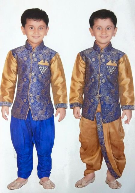 Designer Indo western with choice of dhoti and bridges D.no. - 2561 Size - new born to 5 Yrs. Color - Blue and Dull Gold Red and dull gold Description - Medium lenght designer self jacard jacket with elegant broche. It can be worn with silk - by Singhal's, Delhi