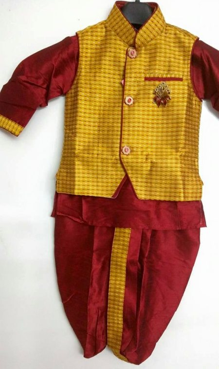 4 peice designer Indo western set D.no. - 7411 Size - new born to 5yrs Colour - metallic grey and electric blue Maroon and metallic gold Maroon and mustard Description - its a 4 piece set comprising of kurta, pajama (bridges), dhoti and a d - by Singhal's, Delhi