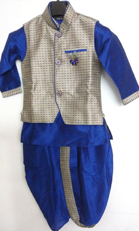 4 peice designer Indo western set  D.no. - 7411  Size - new born to 5yrs  Colour - metallic grey and electric blue  Maroon and metallic gold  Maroon and mustard  Description - its a 4 piece set comprising of kurta, pajama (bridges), dhoti a - by Singhal's, Delhi