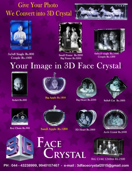 3d face crystal samples - by 3DFaceCrystal, Chennai