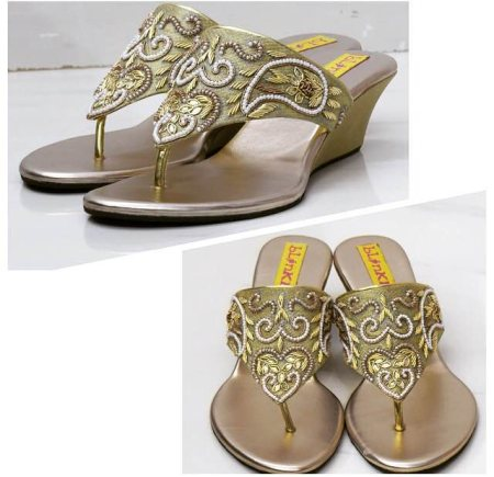 For all the pearl lovers!  Gold Pearl Zardosi Wedges to match all your beautiful outfits!  THE WEDDING COLLECTION 2015