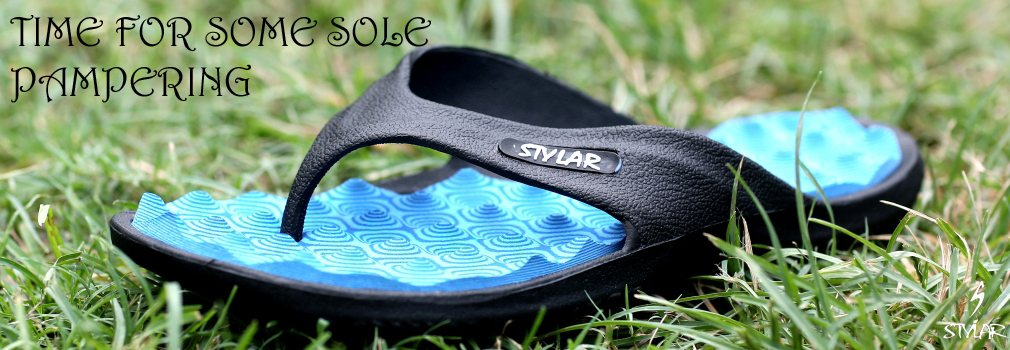 These Flip Flops have been engineered to Massage your Soles as you walk. Providing the right pressure on your Acupressure points takes you to the world of the well known benefits of acupressure. Buy your pair of Acupressure Chappals @ 299 o - by STYLAR - Best Footwear Manufacturers in Delhi, Delhi