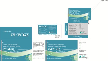 Calcitriol 0.25mcg + Calcium Carbonate 625mg + Vitamin K2-7 45mcg. Our Brand Name is Zycal - K2 Soft Gel Capsule. With 1X10X10C Packing.  Calcitriol is a man-made active form of vitamin D. Most people get enough vitamin D from exposure to t - by ALPIC REMEDIES LTD, Ahmedabad