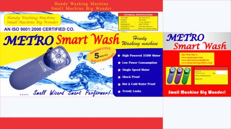 metro smart wash is a washing machine that can wash all type of laundry which we avoid to wash in our costly or big washing machine like very middy and cloths of used by pets and wiper cloth and we are manufacturer of this item by the name  - by Metro Electronic Lab, Delhi