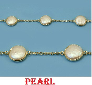 18 Inches Sterling Silver Pearl Necklace Very light and beautiful 18 inches Pearl necklace available in all style, combination and kinds. Being a manufacturer & exporters we are capable of doing in all kinds of custom order. Please feel fre - by Pyramid And Precious International, Jaipur
