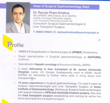 AREAS OF INTEREST:  -Liver Transplant and HPB surgery.  -Advanced Laparoscopy Specially Pancreatobiliary and Upper GI. - by Dr Ravula Phani Krishna, Hyderabad