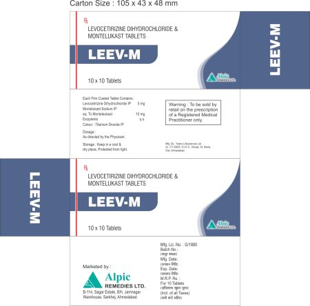 levocetirizine 5mg + montelukast 10mg Tablet. Our Brand Name Is Leev - M Tablet With 10X10T (Alu -Alu) Packing. Levocetirizine is an antihistamine used to relieve allergy symptoms such as watery eyes, runny nose, itching eyes/nose, sneezing, hives, and itching. It works by blocking a certain natural substance (histamine) that your body makes during an allergic reaction. Montelukast is used regularly to prevent the wheezing and shortness of breath caused by asthma and decrease the number of asthma attacks. Montelukast is also used before exercise to prevent breathing problems during exercise (bronchospasm).