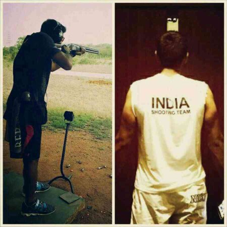 "Eat, breath, sweat, live #indiashooting #iflexedsohardmysleevesfelloff  Someone once told me ""to win is to overcome others, but victory is to overcome yourself""  Working hard and getting ready for the next challenge ahead ! #INDIA #indiasho - by Kynan Chenai -  Shotgun Shooting Prodigy, Hyderabad"