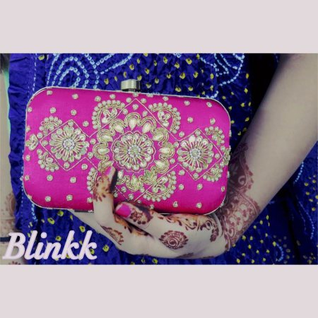 A Beautifully handcrafted box clutch for all the pretty ladies out there!   Handmade Rani pink kundan box clutch. The Wedding Collection 2015.