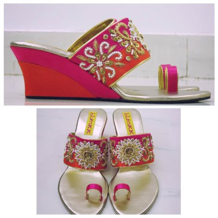 Orange and Pink is the combination this Season!  Rani Pink and Orange Zardosi Floral Wedges with Double coloured heel!