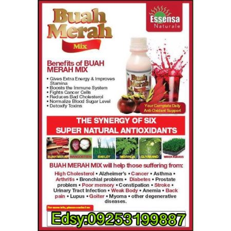 Ang Buah Merah Mix Juice ay hindi gamot, pero bakit marami ang gumagaling? It's because the smallest living unit of our body is a cell and their food is nutrients. Your cell can do heal, repair, protect, regenerate and rebuild 24/7 . Meron tayong more than 30 trillion cells and they are ready to fight for you if you have good nutrition na kadalasang sa panahon ngayon mahirap na magkaroon ng healthy balance diet. Ang juice na ito ay pinagsama-samang masustansyang prutas at gulay. 1. Buah Merah 2. Guyabano 3. Mangosteen 4. Barley 5. Wheat Grass 6. Moringa  Ang Buah Merah Mix ay nakakatulong magpagaling ng Cancer, Myoma, Gall Stone, Kidney Stone Problems, Hypertension/High Blood Pressure, Asthma, Bukol sa kahit saang parte ng katawan, Panginginig ng katawan, Diabetes, High Cholesterol, Prostate Problem, UTI, Stroke, Lupus, Goiter, Tumor, Cyst, and other degenerative diseases.  Ang Buah Merah Mix ay pure organic, non-toxic and all natural. It's in herbal juice form, no overdose, no contraindication, no additives, no preservatives, no any harmful chemicals or synthetic ingredients used. It also contains enzymes and antioxidant properties that help detoxify our body from toxins. Safe, healthy, and effective, kaya kahit baby, bata, matanda, at buntis pwedeng uminom.  Pwede po kayo bumili dito sa online store namin. Kami po ay OFFICIAL SERVICE CENTER/DEALER ng product. We do deliveries nationwide via Metrowide/LBC/JRS Express  P350 per bottle lang po; Good for 5-7days depends on your intakes/needs  Or AVAIL OUR DEALER PACKAGE   P8, 480 Pesos Inclusion: 25 Bottles + 5 FREE Bottles + 5 FREE Buah Merah Liniment (Save P3, 770) + Shipping Fee.   *Shipping via LBC/JRS/Metrowide (local) *via DHL/Philpost (international)   pls watch: http://youtu.be/RBujILL5byc  Just text your name, address & how many bottles you want to order, send to our Ordering Mobile Hotline: 09253199887