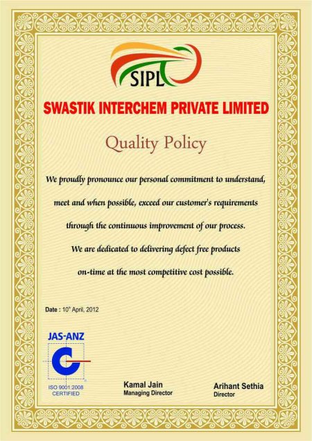 quality policy  - by Swastik Interchem Pvt Ltd, New Delhi