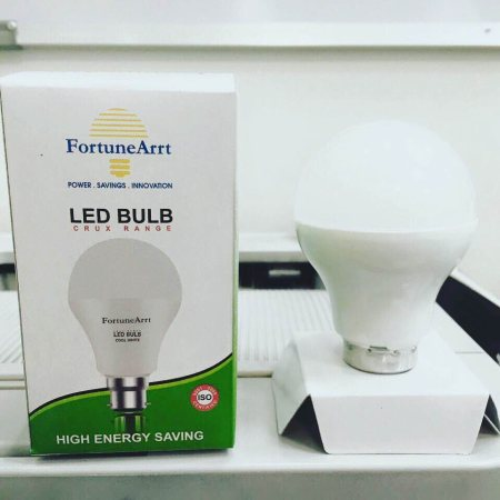 FortuneArrt's 7w bulb at 150/- only. All inclusive. LED Bulbs are made in india and also carries a one year warranty.