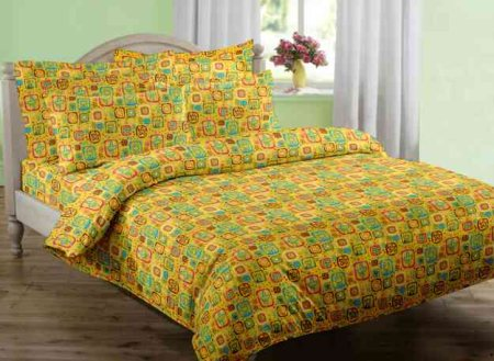 Manufacturer Double Bedsheet set Printed Yellow with Two Pillow Covers - by Swaas, Palladam