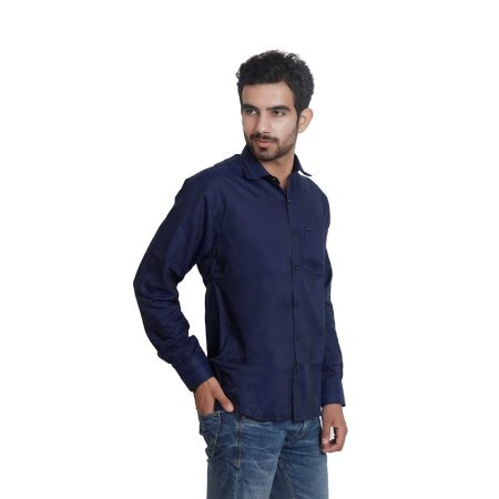 Daata Navy blue cotton blende Full Sleeves Formal Shirt for Men in just only 550 Rupees.