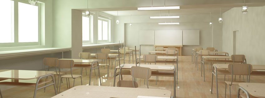 Classroom rendered in 3ds MAX.